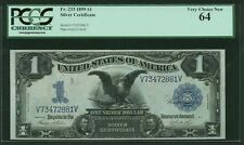 """1899 $1 SILVER CERTIFICATE BLACK EAGLE FR-233 CERTIFIED """"CHOICE NEW"""" PCGS-64"""