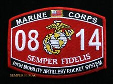 MOS 0814 HIGH MOBILITY ARTILLERY ROCKET SYSTEM PATCH US MARINES PIN UP USS GIFT
