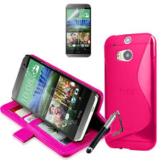 PINK Wallet & Gel 4in1 Accessory Bundle Kit Case Cover For HTC ONE M8