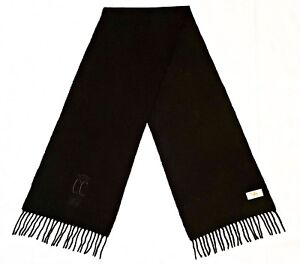 VINTAGE AUTHENTIC CAMEL COLLECTION LOGO SOLID BLACK WOOL LONG MEN'S FRINGE SCARF