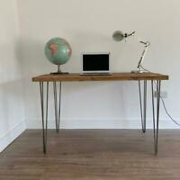 Reclaimed Rustic Wood Scaffold Board Hairpin Leg Desk/Table - Size Options!