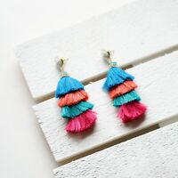 Panacea Stacked Tassel Drop Earrings, Multicolor, New $42