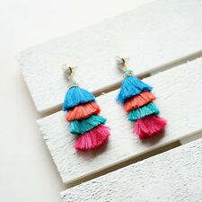 Panacea Stacked Tassel Drop Earrings, Multicolor, New $42
