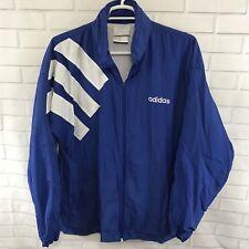 Adidas Mens Jacket Vintage Windbreaker Hide A Hood Lined Blue Size XL