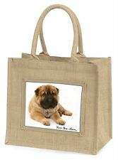 Shar-Pei Dog 'Love You Mum' Large Natural Jute Shopping Bag Christma, MUM-D11BLN