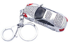 Clear Crystal Miniature Car Charm KeyChain Key Ring Women Fashion Jewelry  k8s