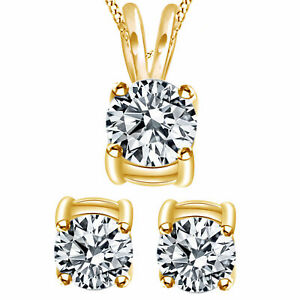 .85Ct (Ct) Diamond Solitaire Necklace Earrings 14K Yellow Gold