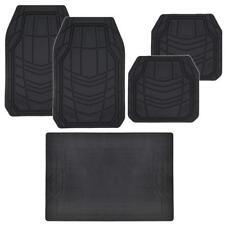 5pc Rubber Car Floor Mats & Trunk Liner - Solid Black Full Interior Protection