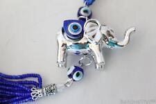 Silver Elephant Turkish Blue Glass Bead Evil Eye Feng Shui Lucky Hanging Charm