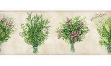 Purple Lavender Green Leaf Herb Flower Bouquet Kitchen Walpaper Border