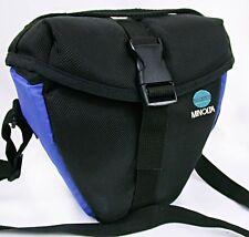 Minolta PADDED Top Load CAMERA~Lens BAG +Pocket~Shoulder+Waist Pack BLUE & BLACK