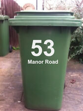 4 X WHEELIE BIN STICKERS WITH HOUSE NUMBER & ADDRESS
