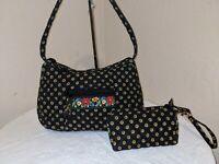 Vera Bradley Vibrant Black Crossbody Tote Bag Handbag Hobo w/ BONUS WRISTLET