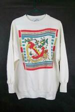 Moon Craft Women's White Fish & Anchor Nautical Sweatshirt Sweater Size Large