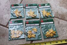 """Lot of 6 pkgs Yellow painted wood stars country chic 3/16"""" x 3/4"""" & 2.25"""" crafts"""