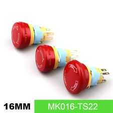 16mm Stop Pattern Waterproof Stainless Steel Emergency Stop Push Button Switchs