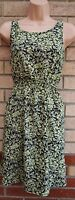 ATELIER LIME BLACK FLORAL GREY SKATER FLIPPY A LINE FLAPPER SUMMER TEA DRESS 10
