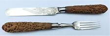 Sin precio de reserva c1860 Sándalo Indio Tallado KNIFE & FORK Vintage Antiguo Elkington