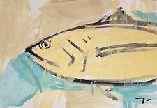 "JOSE TRUJILLO Acrylic Painting Primitive Expressionism FISH FISHING WORKS 13X19"""