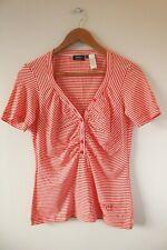 Brand New Womens Miss Sixty Orange Striped V-Neck T-Shirt Top | Size Medium