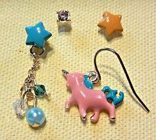 COLORFUL UNICORN EARRING SET pink pony stars gems dangle stud kyandii kawaii V2