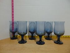 """Six Cobalt Smokey Blue Fluted Goblet Water Wine Glasses 6 1/2"""""""