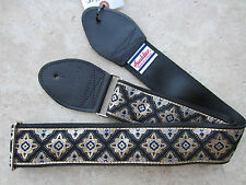 SOULDIER Guitar Strap REGAL BLACK Gold Silver / Vintage Style Woven Tapestry
