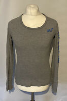 Women's Abercrombie & Fitch T Shirt Grey L/S Large 100% Cotton