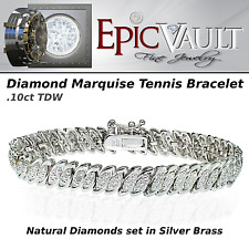 EPIC VAULT-  Natural Diamond Marquise S Bracelet- Silver Tone Brass