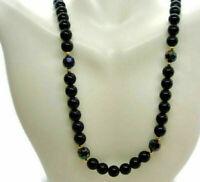 "24"" Black Strand Japan Beaded Girls Statement Estate Woman Vintage Necklace"