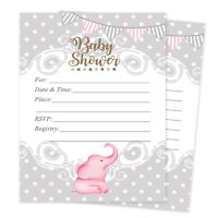 Baby Girl Shower Invitations Elephant Cards Invites Decorations Pink Qty 20