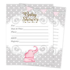 Baby shower animals invitations for sale ebay 20 girl elephant baby shower invitations elephant cards invites decorations pink filmwisefo