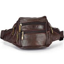 Men Genuine Leather Travel Messenger Shoulder Sling Chest Fanny Waist Bag Brown