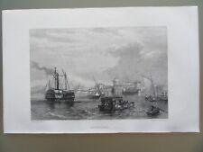 GRAVURE 1856 ITALIE LIVOURNE LE PORT