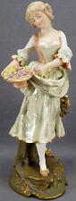 Ernst Wahliss Hand Painted 11 3/8 Inch Blonde Flower Girl Figurine C 1897 - 1906