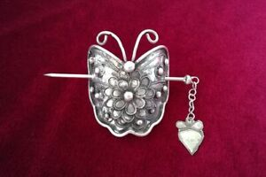 Classic retro tribal pure handmade filigree Miao silver butterfly hairpin 1piece