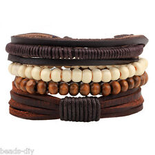 4PCs/Set BD Retro Vintage Multilayer Wood Beads Leather Cuff Bangle Bracelet