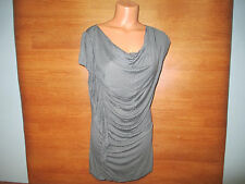 New Womenns Size L Large Old Navy Gray Trendy Tunic Top Shirt Ruffle Side