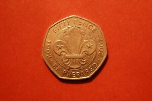 2007 ELIZABETH II 50 PENCE - 100TH ANNIVERSARY OF THE SCOUTING MOVEMENT