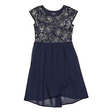 George Girls' Hi Lo Sequin Mesh Dress. Size: X-Small (4-5)