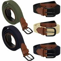 Enzo Mens Womens Elasticated Belts Canvas Stretch PU Leather Trim Braided Belt