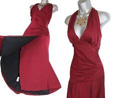 Karen Millen Maroon Jersey Halterneck Low V Neck Open Back Formal Dress UK 12 40
