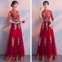Elegant Women Chinese Bride Wedding Ball Gown Dress Cheongsam Prom Embroider New