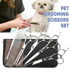 7'' Professional Pet Dog Cat Grooming Scissors Set Straight Curved Shears   @new