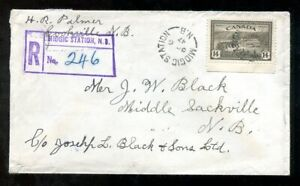p257 - MIDGIC STATION NB 1947 Split Ring on Registered Cover. 14c Peace Issues