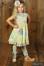 NWT Girl Mustard Pie Apple Blossom Cozette Dress Blue Stripe Floral Multi sz 4T