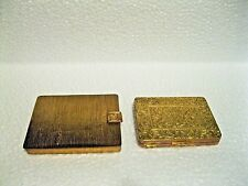 Vintage Set Of Two Brass Powder Compact With Mirror