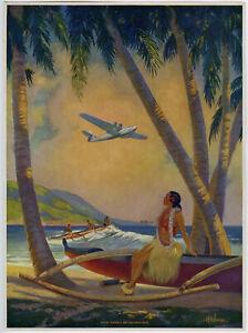 Heckman 1941 Hula Pin-Up Print Where Romance & Progress Meet Hawaiian Aviation