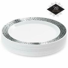 20 Premium Disposable Wedding Dinner Plates Catering Party Tableware Decor 18cm
