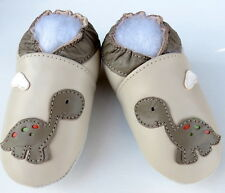 Mini ShoeZoo soft sole leather toddler shoes dinosaurs beige 3-4y